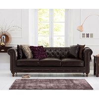 Product photograph showing Ex-display Milano Chesterfield Brown Leather 3 Seater Sofa