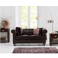 Product photograph showing Ex-display Milano Chesterfield Brown Leather 2 Seater Sofa