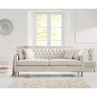 Chatsworth Chesterfield Ivory Linen 3 Seater Sofa