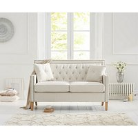 Product photograph showing Ex-display Chatsworth Chesterfield Ivory Linen 2 Seater Sofa