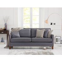 Product photograph showing Aston Grey Leather 3 Seater Sofa