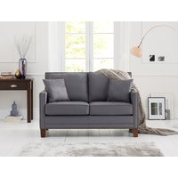Product photograph showing Aston Grey Leather 2 Seater Sofa