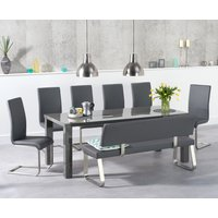Atlanta 200cm Dark Grey High Gloss Dining Table with Malaga Chairs and Malaga Large Grey Bench - Grey, 2 Chairs