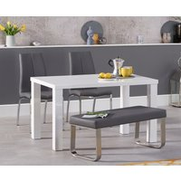 Atlanta 120cm White High Gloss Dining Table with Cavello Chairs and Atlanta Grey Bench - Black, 2 Chairs