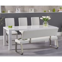 Atlanta 200cm White High Gloss Dining Table with Malaga Chairs and Malaga Large White Bench