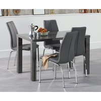 Read more about Atlanta 120cm dark grey high gloss dining table with cavello chairs