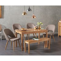 Oxford 150cm Solid Oak Dining Table with Halifax Fabric Chairs and Oxford Bench - Grey, 2 Chairs