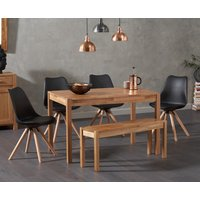 Oxford 150cm Solid Oak Dining Table with Oscar Faux Leather Round Leg Chairs and Bench