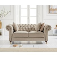 Product photograph showing Carrara Chesterfield Cream Linen 2 Seater Sofa