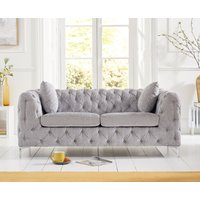 Product photograph showing Amara Grey Plush 2 Seater Sofa