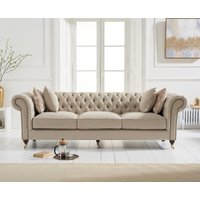 Carrara Chesterfield Cream Linen 3 Seater Sofa