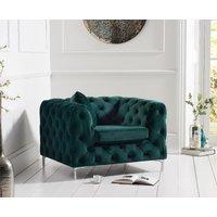 Product photograph showing Amara Green Plush Armchair