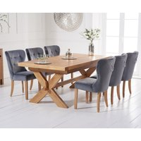 Bordeaux 200cm Solid Oak Extending Dining Table with Knightsbridge Velvet Chairs - Grey, 6 Chairs
