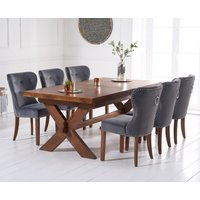 Bordeaux 200cm Dark Solid Oak Extending Dining Table with Knightsbridge Velvet Chairs - Grey, 6 Chairs
