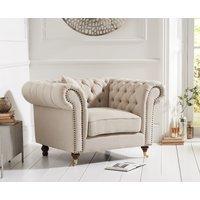 Product photograph showing Carrara Chesterfield Cream Linen Armchair