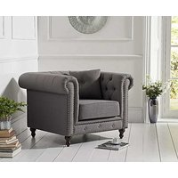 Product photograph showing Ex-display Milano Chesterfield Grey Linen Fabric Armchair