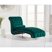 Product photograph showing Ex-display New York Green Velvet Chaise Lounge