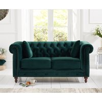 Read more about Milano chesterfield green plush 2 seater sofa