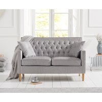 Product photograph showing Chatsworth Chesterfield Grey Plush 2 Seater Sofa