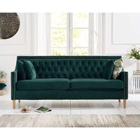 Product photograph showing Ex-display Chatsworth Chesterfield Green Plush 3 Seater Sofa