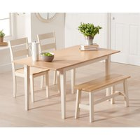 Chiltern 120cm Extending Cream And Oak Table With Chiltern Chairs and Bench - Cream, 2 Chairs