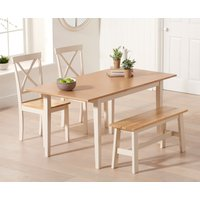 Chiltern 120cm Extending Cream And Oak Table With Epsom Chairs and Bench - Cream, 2 Chairs
