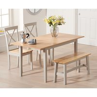 Chiltern 120cm Extending Grey And Oak Table With Epsom Chairs and Bench - Oak and Grey, 2 Chairs