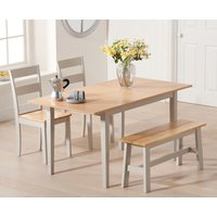 Chiltern 120cm Extending Grey And Oak Table With Chiltern Chairs and Bench - Oak and Grey, 2 Chairs