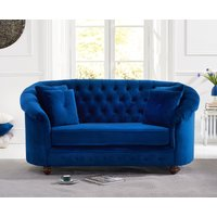Product photograph showing Chloe Chesterfield Blue Plush Fabric Two-seater Sofa