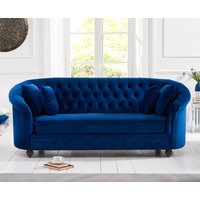 Product photograph showing Ex-display Chloe Chesterfield Blue Plush Fabric Three-seater Sofa