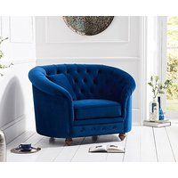 Product photograph showing Ex-display Chloe Chesterfield Blue Plush Fabric Armchair