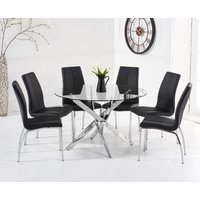 Read more about Denver 120cm glass dining table with cavello chairs