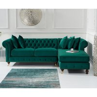 Flora Medium Green Velvet Right Facing Chaise Sofa