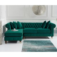 Flora Medium Green Velvet Left Facing Chaise Sofa