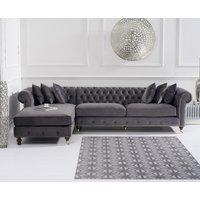 Product photograph showing Flora Grey Velvet Left Facing Chesterfield Chaise Sofa