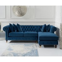 Flora Medium Blue Velvet Right Facing Chesterfield Chaise Sofa