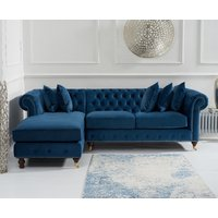 Flora Medium Blue Velvet Left Facing Chesterfield Chaise Sofa
