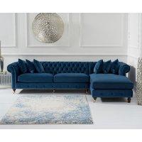 Flora Blue Velvet Right Facing Chesterfield Corner Chaise Sofa