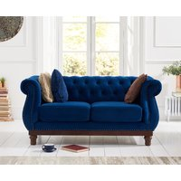 Product photograph showing Henbury Chesterfield Blue Plush 2 Seater Sofa