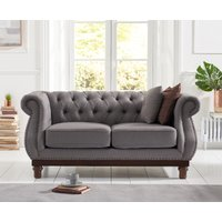 Product photograph showing Henbury Chesterfield Grey Linen 2 Seater Sofa