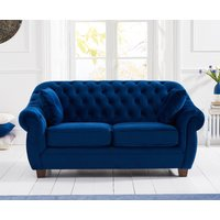 Lilly Chesterfield Blue Plush Fabric Two-Seater Sofa