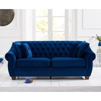 Lilly Chesterfield Blue Plush Fabric Three-Seater Sofa