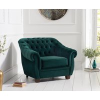 Read more about Lilly chesterfield green plush fabric armchair
