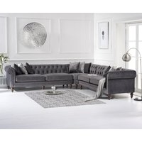 Product photograph showing Limoges Grey Velvet Corner Sofa