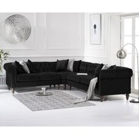 Product photograph showing Limoges Medium Black Velvet Corner Sofa