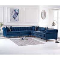 Product photograph showing Limoges Blue Velvet Corner Sofa