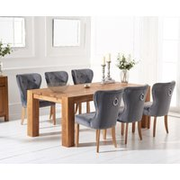 Madrid 240cm Solid Oak Dining Table with Knightsbridge Velvet Chairs - Blue, 6 Chairs