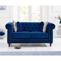 Product photograph showing Ex-display Milano Chesterfield Blue Plush 2 Seater Sofa