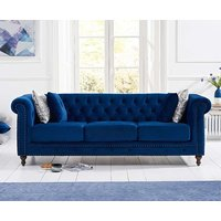 Product photograph showing Ex-display Milano Chesterfield Blue Plush 3 Seater Sofa