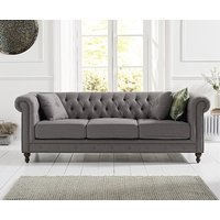Product photograph showing Ex-display Milano Chesterfield Grey Linen Fabric 3 Seater Sofa